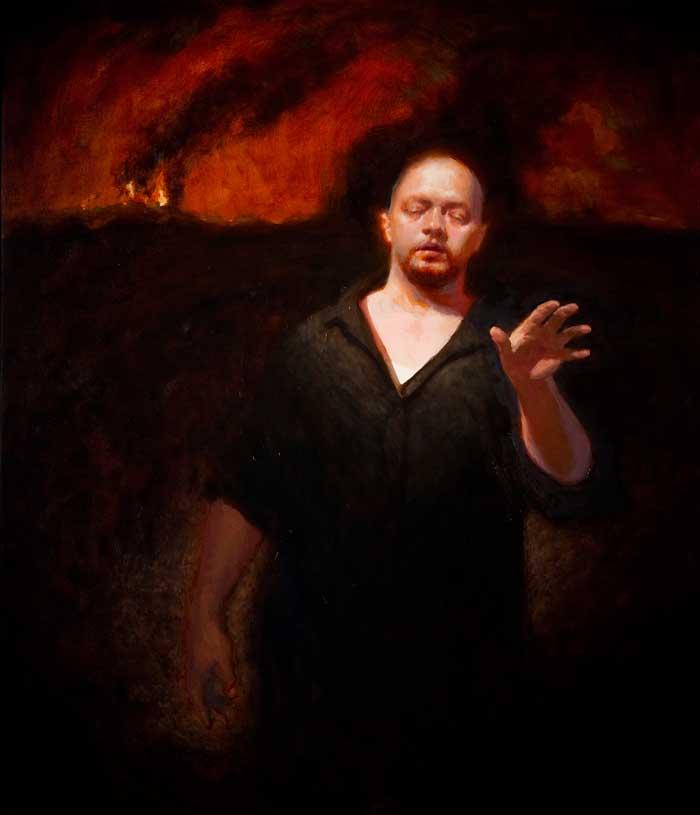 'Blind Man Crossing Volcanic Landscape', oil on linen,107cm x 92cm