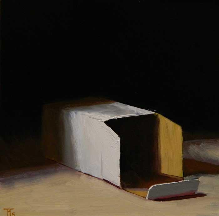 'Caja', oil on linen panel, 30cm x 30cm