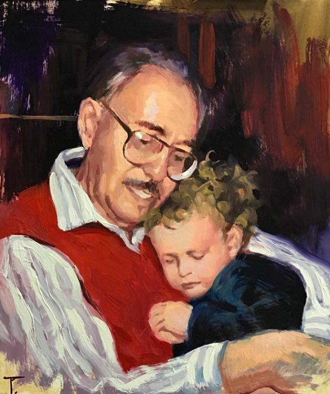 'Eli and Grandad', oil on gesso panel, 35cm x 30cm