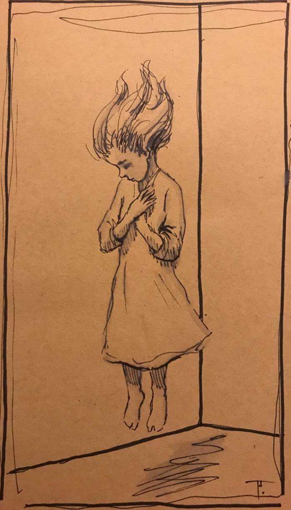 'Floating', pen on paper
