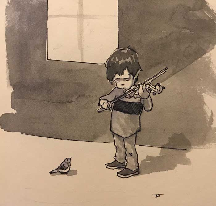 process sketch by Newcastle artist Pablo Tapia