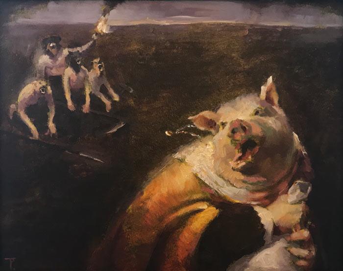 King Pig, oil on paper on panel, 29cm x 37cm