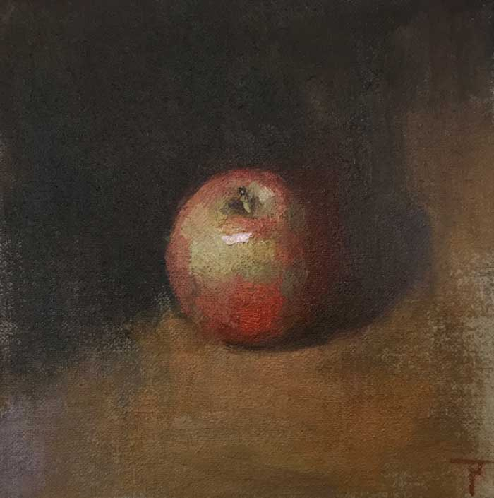 Impressionist style still life: Manzana,-oil-on-linen-panel-20x20cm