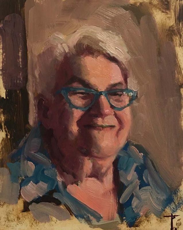 Oil fine art portrait by Newcastle artist Pablo Tapia: 'Mrs Marsh', oil on linen panel, 25cm x 20cm