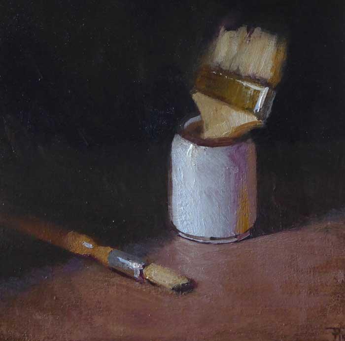 'Old Friends', oil on panel, 30cm x 30cm