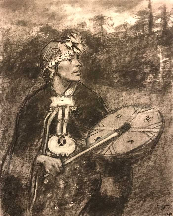 'Study for La Machi', charcoal on paper