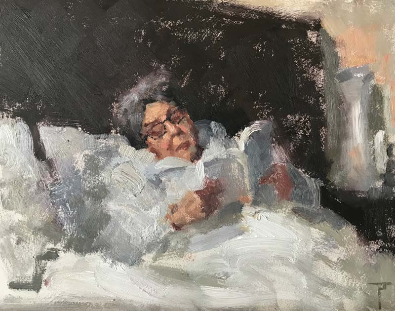 'The Artist's Mother', oil art portrait on gesso panel, by Pablo Tapia