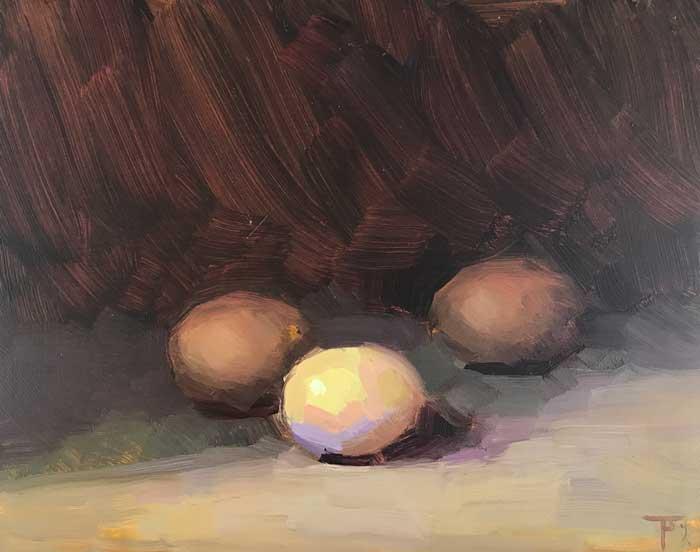 'Tres Huevos', oil on gesso panel, 20cm x 25cm