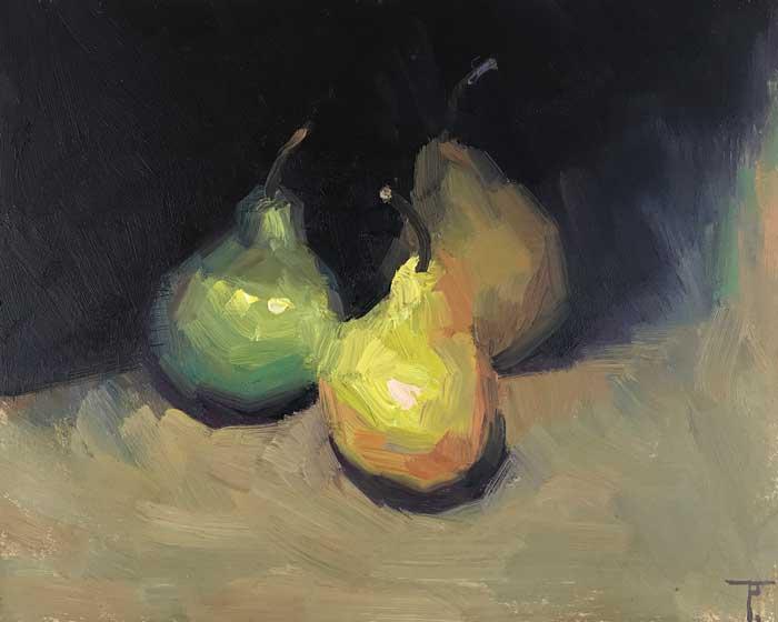 Fine Artist Still Life: 'Tres Peras', oil on gesso panel, 20cm x 25cm