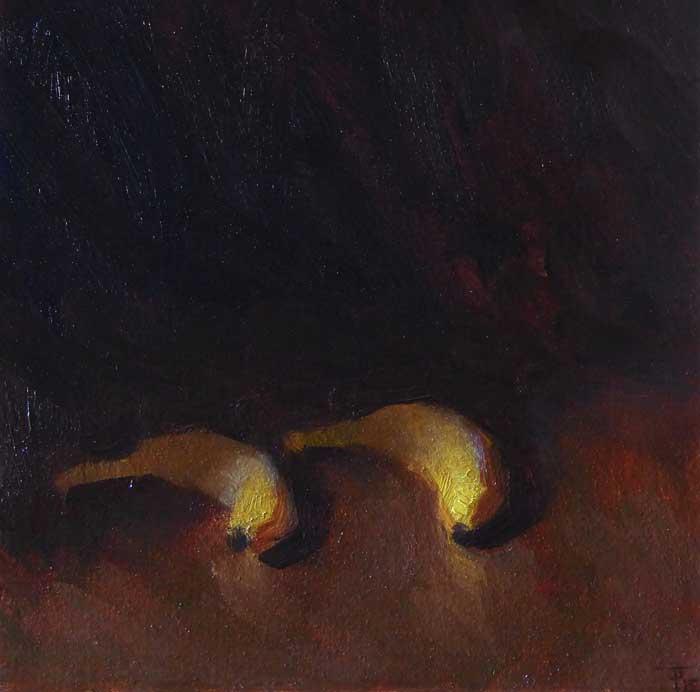 Impressionist Still Life 'Two Bananas', oil on linen panel, 30cm x 30cm