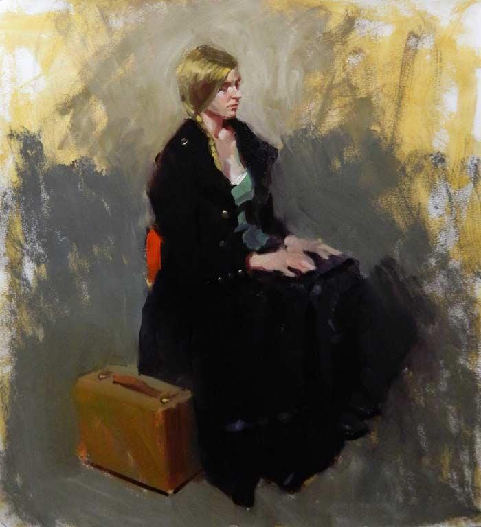 'Waiting', oil on paper on panel, 74cm x 66cm