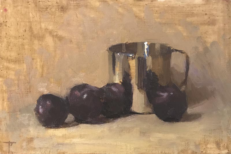 'Plums with Metal Jug', oil on panel, 20cm x 30.5cm